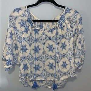 Blue and cream Blouse